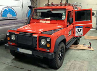 land rover defender with mv airo 2 heater