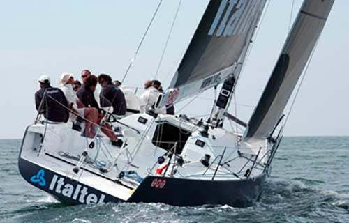 racing sailing boat with diesel heater